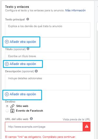 facebook ads anuncio varias opciones